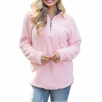DOMBX Womens Warm Teddy Fleece Sweater Jumper Long Sleeve Half Zipper Solid Color Sweatshirt Pullover Cardigan with Pockets Autumn Winter Women's Casual Elegant Basic Slim Fit Coat Jacket Tunic Tops