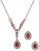 Charter Club Rose Gold-Tone Crystal Pendant Necklace and Earrings Set, Only at Macy's