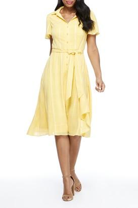 London Times Tonal Stripe Belted Shirt Dress (Petite)