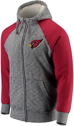 G Iii Men's G-III Sports by Carl Banks Heathered Gray/Cardinal Arizona Cardinals Turning Point Sherpa Lined Full-Zip Jacket