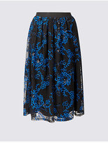 M&S Collection Embroidered Mesh A-Line Midi Skirt