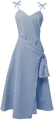 Tomcsanyi Erd Blue & White Overlap Skirt Midi Dress
