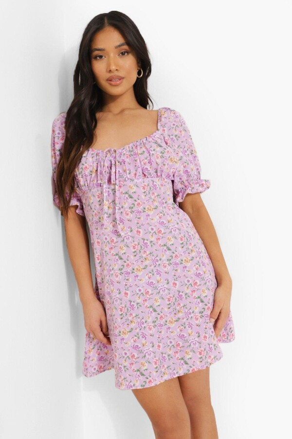 Thumbnail for your product : boohoo Petite Ditsy Floral Puff Sleeve Mini Dress