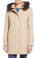 Ellen Tracy Women's Genuine Fox Fur Trim Tweed Duffle Coat