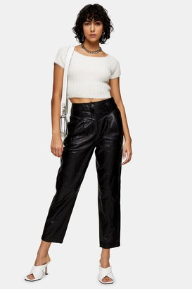 Topshop Black Leather Peg Pants