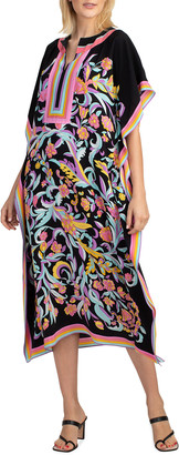 Trina Turk Theodora Striped Border Floral Print Midi Dress