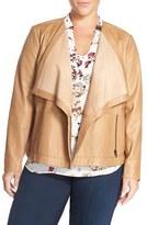 Sejour Plus Size Women's Drape Collar Leather Jacket