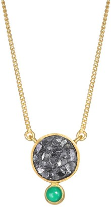 Ophelia Tulum 18K Gold Vermail, Green Onyx & Sliced Raw Diamonds Pendant Necklace