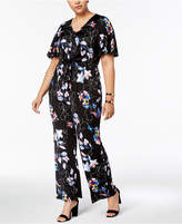 NY Collection Plus Size Printed Tie-Waist Jumpsuit