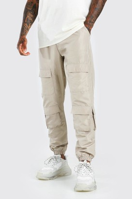 boohoo Mens Beige Shell Multi Pocket Jogger With Adjustable Drawcords, Beige