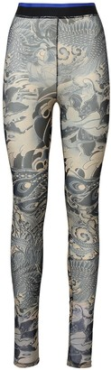 Koché Tattoo Stretch Sheer Tulle Leggings