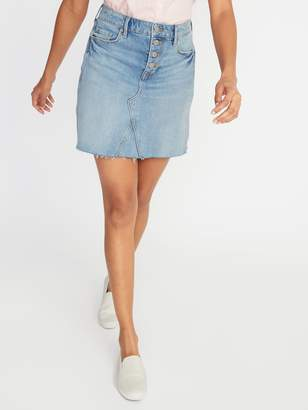 Old Navy High-Waisted Button-Fly Frayed-Hem Jean Skirt For Women