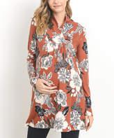 Rust Floral Shawl-Collar Maternity Sweater