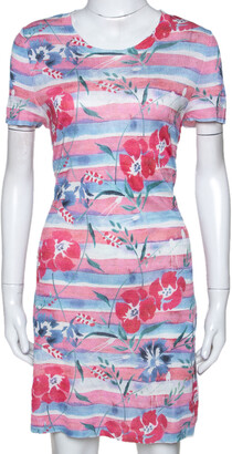 Chanel Pink Striped Floral Print Knit Shift Dress L