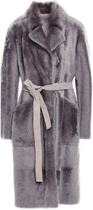 Yves Salomon Belted Shearling Trench Coat