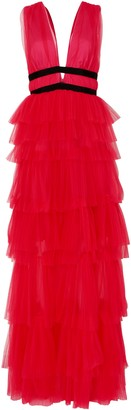 True Decadence Hot Pink Plunge Front Tulle Layered Maxi Dress