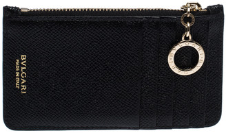 Bvlgari Black Leather Zip Credit Card Holder