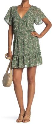 Lush Flutter Sleeve Floral Print Mini Dress