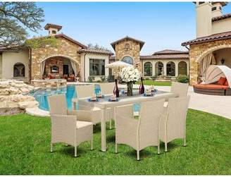 """Wrought Studio Toppenish Outdoor Backyard 7 Piece Dining Set with Cushions Wrought Studio Color: Cream, Table Size: 35.5"""" H x 35.5"""" L x 72.8"""" W"""