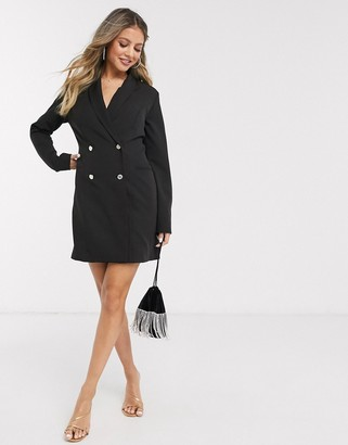 Lipsy double breasted military blazer dress in black