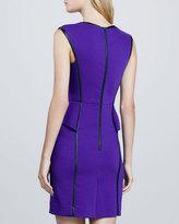 Milly Pipe-Trim Peplum Dress
