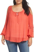 Bobeau Plus Size Women's Cold Shoulder Blouse
