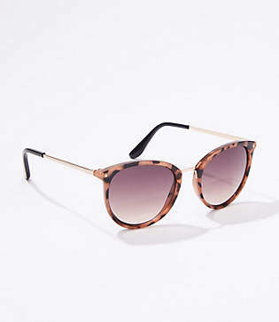 LOFT Leopard Print Small Round Sunglasses