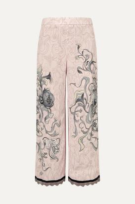 Prada Cropped Chain-trimmed Printed Crepe Straight-leg Pants - Pastel pink