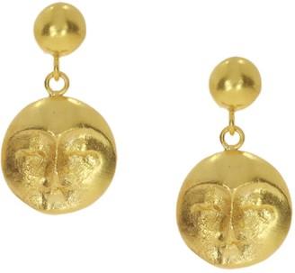 Ottoman Hands Moon Face Gold Drop Earrings