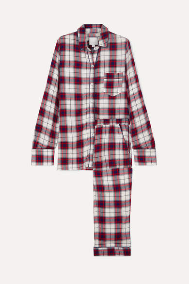Three J NYC Checked Flannel Pajama Set - Red