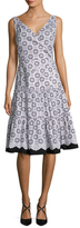 Oscar de la Renta Cotton V-Neck A-Line Dress