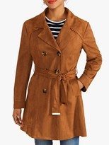 Yumi Faux Suede Double Breasted Coat, Tan