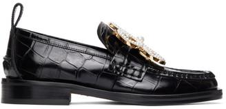 Loewe Black Croc Flower Loafers