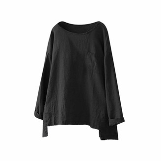 TWIFER Women Casual Plus Size Cotton Linen Loose Full Sleeve Solid T-Shirt Blouse Top Tee Top Polo Casual Comfy Soft Solid Slouchy Shirt Pullover(Black UK-24/CN-5XL)