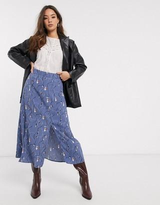 Vero Moda midi skirt with front split in blue floral