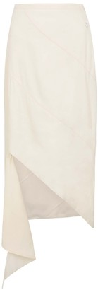 Off-White Spiral ivory linen-blend skirt