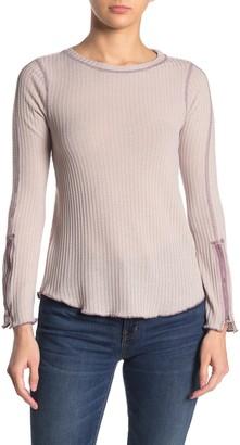 Elodie K Waffle Knit Zipper Cuff T-Shirt