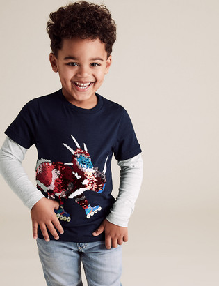 Marks and Spencer Pure Cotton Reversible Sequin Dinosaur Top (2-7 Yrs)