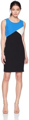 Kasper Women's Petite Stretch Crepe Color Block Dress