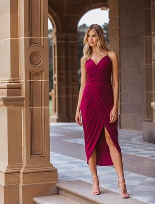 Forever New Charlotte Drape Maxi Dress - Red Plum - 4