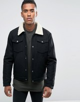 Jack & Jones Wool Jacket With Borg Collar