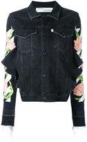 Off-White floral embroidered denim jacket - women - Cotton/Polyester/Spandex/Elastane - S