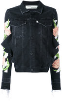Off-White floral embroidered denim jacket - women - Cotton/Polyester/Spandex/Elastane - XS