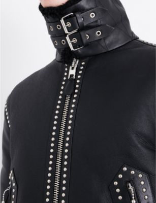 Givenchy Stud-detail shearling and leather jacket