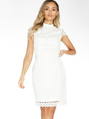 Quiz Lace Contrast Lining Midi Dress - White