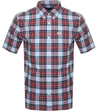 Fred Perry Short Sleeved Tartan Check Shirt Blue