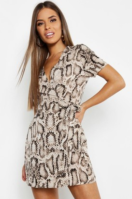 boohoo Petite Animal Print Woven Wrap Dress