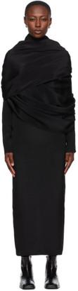 Winnie New York Black Silk Draped Shoulder Dress