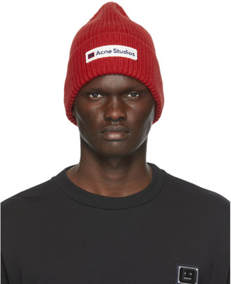 Acne Studios Red Wool Patch Beanie