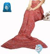 "LAGHCAT Mermaid Tail Blanket Crochet and Mermaid Blanket for adult, Super Soft All Seasons Sleeping Blankets, 71""x35.5"", Red"